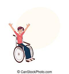 riabilitazione, seduta, giovane, carrozzella
