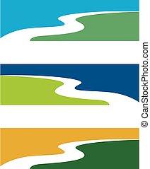 riacho, rio, vetorial, ilustração, logotipo, eps, ou, 10., ...