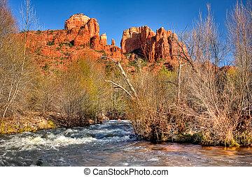 riachuelo, sedona, roble, arizona, roca de la catedral