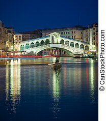 Rialto bridge at night, Venice, Italy