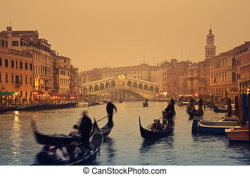 Rialto Bridge, Venice - Italy - Rialto Bridge and gondolas...