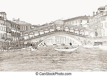 Rialto Bridge Venice - illustration of the Rialto Bridge in...