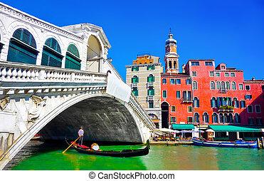 Rialto bridge with Gondola, Venice - Famous Ponte di Rialto ...