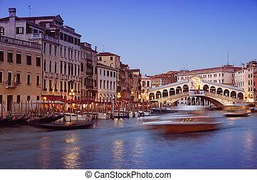 rialto bridzs, alatt, velence, -, olaszország