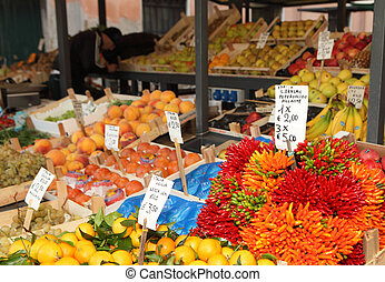 Rialto market vegetable stall - Vegetable stall in Venice's...