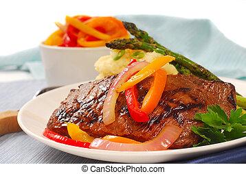 rib-eye, patate, bistecca, schiacciare, cotto ferri