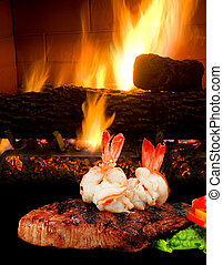 Rib-Eye Steak and Shrimp. - Rib-Eye steak and shrimp by the...