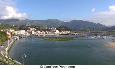 Ribadesella city - landscape of Ribadesella city in Asturias...