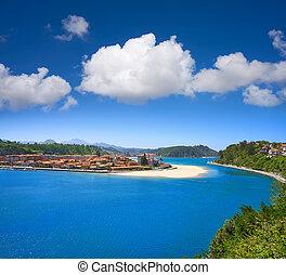 ribadesella, falu, felülnézet, alatt, asturias, spanyolország