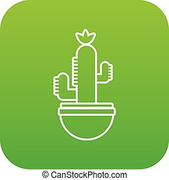 Ribbed cactus icon green vector isolated on white background