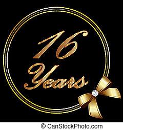 ribbo, anos, aniversário, ouro, 16