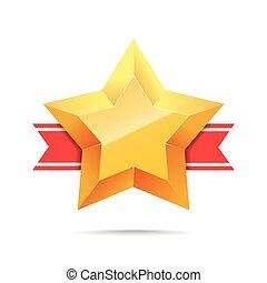 ribbon., étoile, rouges, or, 3d