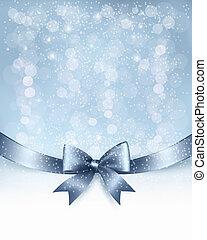 ribbon., łuk daru, wektor, połyskujący, tło, święto, boże ...