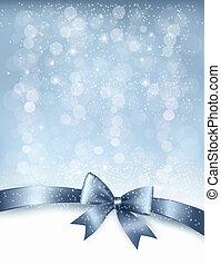ribbon., ギフトの弓, ベクトル, グロッシー, 背景, 休日, クリスマス