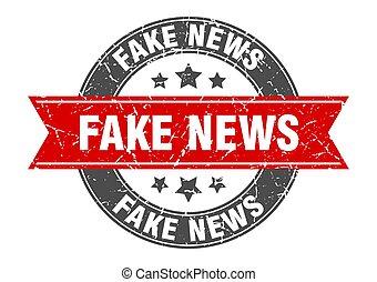 ribbon., ニュース, ラウンド, 印, 切手, ラベル, 偽造品