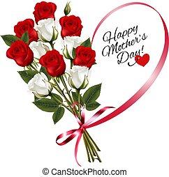ribbon., 心の形をしている, 母, メモ, ばら, vector., 日, 赤, 幸せ