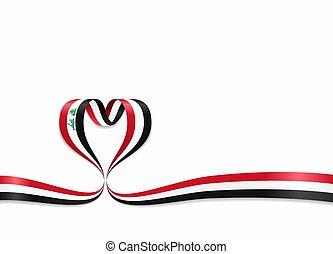 ribbon., 心の形をしている, illustration., イラクの旗, ベクトル