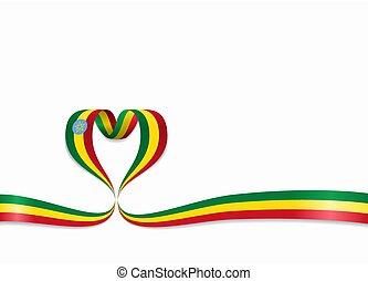 ribbon., 心の形をしている, illustration., エチオピア, 旗, ベクトル