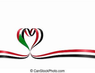 ribbon., 心の形をしている, illustration., スーダン, 旗, ベクトル