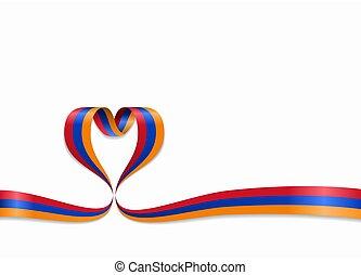 ribbon., 心の形をしている, illustration., 旗, ベクトル, アルメニア人