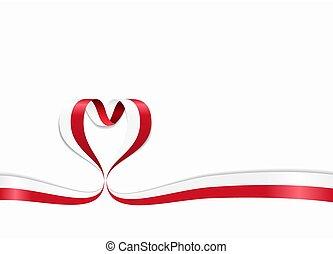 ribbon., 心の形をしている, illustration., 旗, ベクトル, ポーランド語