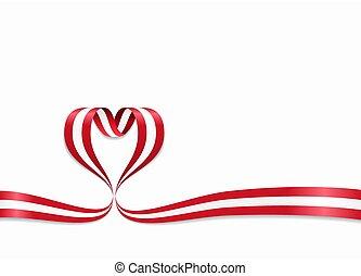 ribbon., 心の形をしている, illustration., 旗, ベクトル, austrian