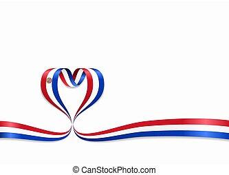 ribbon., 心の形をしている, illustration., 旗, ベクトル, paraguayan
