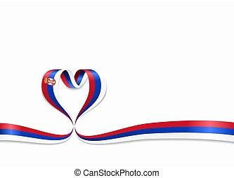 ribbon., 心の形をしている, illustration., 旗, ベクトル, serbian