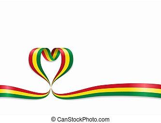 ribbon., 心の形をしている, illustration., 旗, ボリビア, ベクトル