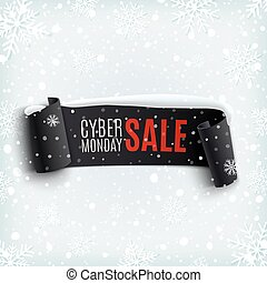 ribbon., 月曜日, セール, cyber, 現実的, 黒い背景