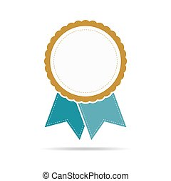ribbon., 有色人種, illustration., ベクトル, メダル, アイコン