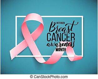 ribbon., 現実的, 胸, cancer., ピンク, handdrawn, ポスター, レタリング