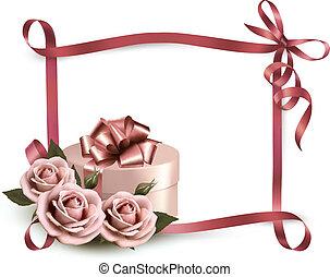 ribbon., 背景, ばら, 休日, 贈り物, vector., 3, 箱