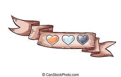 ribbon., 要素, illustration., 型, バレンタイン, 手, day., ベクトル, デザイン, 引かれる, 心