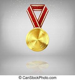 ribbon., 賞, イラスト, 金, シンボル, 反射。, 月桂樹, 灰色, メダル, 背景, 赤, success., 金, 勝利, ベクトル