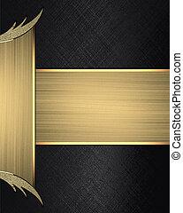 ribbon., 金, 抽象的, サイト, 端, 黒い背景, デザイン, template.