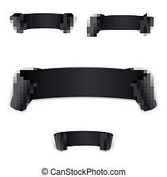 ribbon., 黒, 現実的, 曲がった, セット
