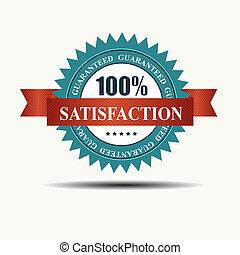 ribbon., 100%, guaranteed, etiket, bevrediging, vector, retro, rood