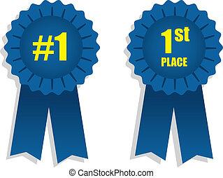 Ribbon 1st Place  - 1st place winning blue ribbons