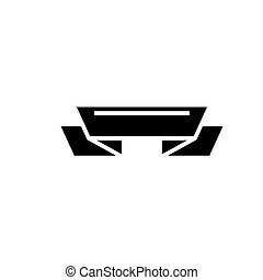 ribbon 2 corners icon, vector illustration, black sign on...