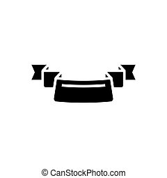 ribbon 3 corners icon, vector illustration, black sign on isolated background