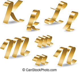 Letters of english alphabet from gold ribbon