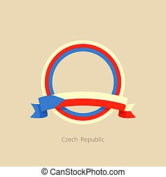 Ribbon and circle with flag of Czech Republic