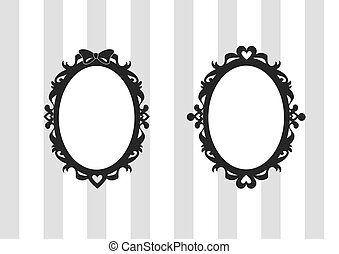 A collection of two sweet and gothic oval frames with an elegant stylized look and heart and ribbon decoration. The design of these black victorian frames is in gothic lolita cartoon style. Isolated, with empty blank space for text or image - EPS vector available