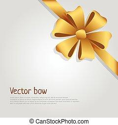ribbon., arany-, hat, bow., szirom, fényes, vektor, széles