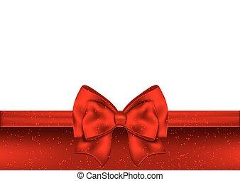 ribbon., arc don, fond, vacances, rouges