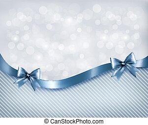 ribbon., arco presente, vetorial, lustroso, fundo, feriado