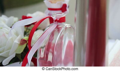 ribbon at bottle in the wind slow motion
