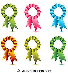 ribbon award - illustration of ribbon award on white...