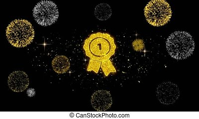 Ribbon Award Icon on Glitter Golden Particles Firework. -...
